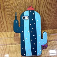 Wholesale Silicone Rubber Iphone Robot - 3D Robot Cactus Soft Rubber Case For iPhone 6 6s 6Plus 7 Plus Silicone Funny Back Cover Coque Capa Cute Robot Cactus Case