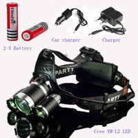Wholesale 3x cree charger resale online - Upgrade Headlamp Lumen Super Bright X CREE XML L2 LED Head Torch Flashlight Lamp Battery charger car charger