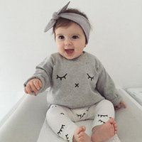 Wholesale Metallic Boy Shorts Wholesale - Boys Girls Clothing Sets Eyelash Print Winter Autumn Spring Casual Suits Shirts Pants Hat Infant Outfits Kids Tops & Shorts 0-24M