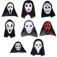Wholesale Ghost Scream Mask - Halloween Costume Party Long Face Skull Ghost Scary Scream Mask Face Hood Scary Horror Terrible Mask with Hood 0708017