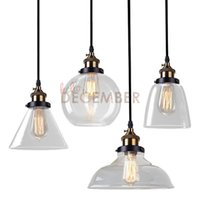 Vintage LED Crystal Glass Pendant Lights Luminárias pingente de teto LED 4 Estilo Industrial Edison Glass Light AC 110-240V