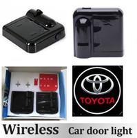 Wholesale Toyota Laser Light - 2pcs Wireless LED Car Door Light Toyota Auto Welcome Light Laser Car Door Shadow led Projector Wireless Car Welcome Door car Door Light