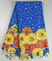 Wholesale African Paints - Most popular royal blue african cord lace with painting colorful flower water soluble lace fabric for dress AW26-2,5 Yards lot