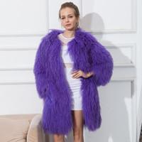 Wholesale Womens Coats Sheep Fur - CNEGOVIK womens lamb fur coat tan sheep fur coats short Sheep skin jacket 80cm Mongolia Sheep Fur