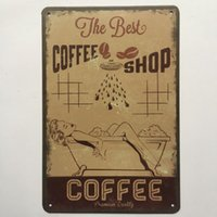 Wholesale best vintage home decor resale online - The best coffee Shop Retro Vintage Metal Tin sign poster for Man Cave Garage shabby chic wall sticker Cafe Bar home decor