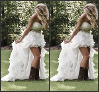 Wholesale high low style vintage wedding dress online - 2018 New Sweetheart Ruffles Organza Asymmetrical Fitted Hi lo White Bride Bridal Gowns Modest High Low Country Style Wedding Dresses