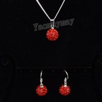 Wholesale Silver Shamballa Pendant - Crystal Shamballa Jewellery Set Red Disco Ball Pendant Earrings And Necklace 10 Sets Wholesale