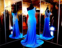 ingrosso blu vedere attraverso abito da sposa-Blue One Shoulder Jersey Formfitting Evening Gown See Through Hand Beading Guaina Prom Dress Side Zipper Abito da spettacolo sexy