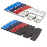 badges autocollants en métal achat en gros de-84x32cm En Métal logo autocollants Noir M /// M Voiture Argent emblème Styling badge Stickers 3D Autocollant pour BMW M