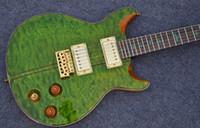 Wholesale Green Bird Guitar - Private Stock Eagle Reed Smith Flame Maple & Abalone Stripe Top Green Electric Guitar Green MOP Birds Inlay Tremolo Bridge Gold Hardware