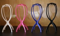 Wholesale Wig stand multicolor plástico titular dobrável stand head tripod