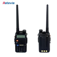 Wholesale Portable Transceivers Vhf Uhf - 2pcs DTMF Walkie Talkie Retevis RT-5R 5W 128CH UHF + VHF Ham Radio Portable Hf Transceiver A7105A