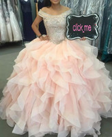 Wholesale Teen Pageant Dresses Size 12 - Major Beading Ball Gown Pageant Dresses For Teens Beading Sequins Ruffles Off The Shoulder quinceanera dresses Floor Length homecoming dress