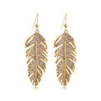 Wholesale Dangling Rhinestone Bridal Earrings - Love Forever 2016 Newest 18 K Gold Silver Love Wings Bridal Luxury Drop Earrings Fashion Korean Feather Jewelry For Women