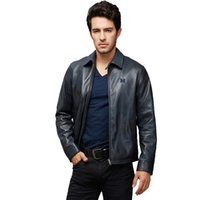 Wholesale Real Blue Leather Jackets - Fall-Factory Real Sheepskin Genuine Leather Jacket For Men Super Quality Blue Brown Men's Bomber Motorcycle Biker Autumn Coats