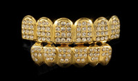 Wholesale K Gold Plated ICED OUT CZ Teeth GRILLZ Top Bottom Tooth Caps Hip Hop Bling NEW with Sillicone mode