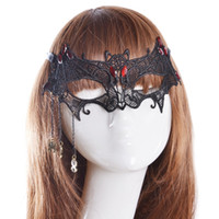 Wholesale Embroidery Half Face Mask - Fashion Sexy Embroidery Black Bat Lace Mask Lady Cutout Eye Face Mask Masquerade Mysterious Masks WA1281