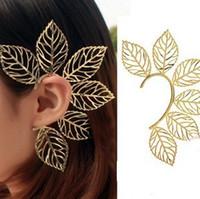 Wholesale Earring Hook Screw - 12pcs Free Shipping wholesale Fashion Punk Ear Cuff big leaf earrings Ear Clip Leaves hook Earring