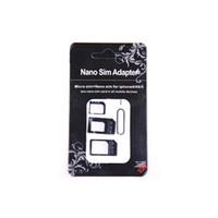 nano carte sim achat en gros de-Gros-4 en 1 Set Nano Carte SIM à Micro Adaptateur Adaptateur Adaptateur Standard Set Pour iPhone 5 4S 4