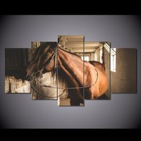 More Panel original oil painting horse - 5 Set HD Printed Animal horse Painting Canvas Print room decor print poster picture canvas original art paintings