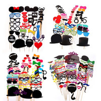 Wholesale wedding photobooth props - 31 44 58 76 pcs Mustache Stick Wedding Party Photo Booth Props Photobooth Funny Masks Bridesmaid Prop Lips Decoration 4style