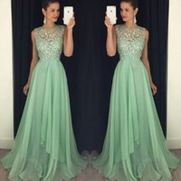 Wholesale Pagaent Dresses - Sparkly Mint Green Prom Dressess Sheer Neck Sleeveless Luxury Beaded Top Evening Prom Dress Long Formal Cheap Pagaent Gowns Chiffon