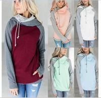 Wholesale Designer Hoodies Wholesale - Double Color Zipper Stitching designer Hoodies Women Long Sleeve Patchwork Pullover Winte Jacket Sweatshirts Jumper Tops off white hoodies