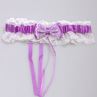 Wholesale Purple Wedding Garters - 2016 New Red Blue Yellow Sexy Lace Bridal Garter Set Bowknot Wedding Accessoreis Leg Garters Belt