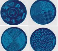nagelstempelplatte geben verschiffen frei großhandel-5000 Stücke hehe Serie Bild Platte Verschiedene Designs Stamping Nail art 5,6 CM Bule Moud Vorlage Kostenloser Versand
