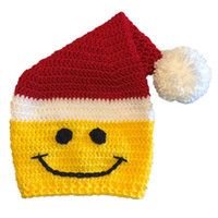 Wholesale baby christmas crochet elf hats for sale - Group buy Novelty Santa Smiley Face Hat Handmade Knit Crochet Baby Boy Girl Christmas Elf Pompom Beanie Baby Winter Hat Newborn Photo Prop