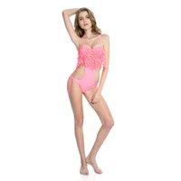 Wholesale Push Up Fringe Bandeau - 2016 Pink Push-up Bandeau Top One-piece Swimsuit With Stylish Leaves Detail on The Fringe