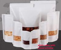 papel kraft grátis venda por atacado-Qualidade agradável Sacos à prova de umidade, Papel Kraft com três camadas de cor branca, Saco de Embalagem Ziplock para Snack Candy Cookie baking frete grátis