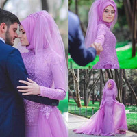 Wholesale Lace Ruffle Scarf - 2016 High Neck Arabic Evening Dresses Islamic Abaya Dubai Abaya Kaftan Muslim Overskirt Formal Evening Dresses With Scarf Party Prom Gown