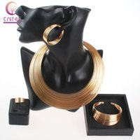 Wholesale Multiple Sets Earrings - Fashion Gold Silver Plated Multiple Strands Necklace Earrings Bangle Ring Fine Accessories Wedding Bridal Jewelry Set