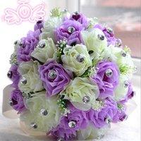 mor rose çiçek buketi toptan satış-Europen Stil Mor Fildişi Gelin Gelinlik Çiçek düğün buket yapay çiçek gül buketi Kristal gelin buketleri