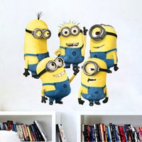 Wholesale Wall Stickers Minion - Despicable Me 2 Minion Movie Decal Removable Wall Sticker 55*55cm Home Decor Art Cute Kids Nursery Loving Gift home Decoration Free DHL