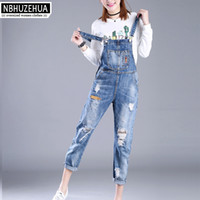 Wholesale Hole Overall - Wholesale- Full Sizes XXS-7XL Womens Jumpsuit Denim Overalls Women 2017 New Casual Strap Hole Ripped Jeans Plus Size Overalls 5XL 6XL K1208
