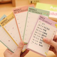 Wholesale Memo Pad Vintage - Wholesale-Hot Sale New Vintage cute WEEKLY   DAILY schedule memo stickers Sticky Notes Message pad stationery 2 Piece