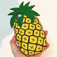 Wholesale Cool Apple Skins - 2016 Fashion cartoon fruit summer cool yellow pineapple soft silicone case cover skin For Iphone 5 5s se 5c 6 6s 6plus 6splus