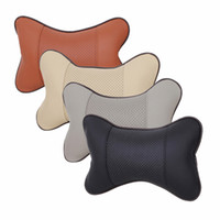 Wholesale Headrest Leather - 4 Colors Leather Hole-digging Car Interior Supplies Auto Safety Neck Pillow Car Seat Covers Pillow Headrest CIA_605