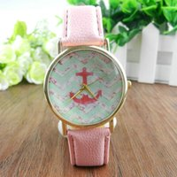 Wholesale Wholesale Striped Leather Watches - Montre Femme 2016 Fashion Striped Anchor Women's Watch Leather Strap Women Watches Geneva Ladies Wristwatch 4Colors