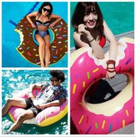 Wholesale 20pcs fashion cm Gigantic Donut Swimming Float Inflatable Swimming Ring Adult pool floats colors beach and swimming toy D820
