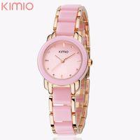 Wholesale Eyki Kimio Watches - Eyki Kimio Ladies Imitation Ceramic Wristwatch Luxury Gold Bracelet Watches Women Dress Watch saat kol saati