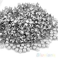 """Wholesale Spots Leathercraft Rivet - 500 pcs Silver Leathercraft DIY Round Studs Spots Spikes rivets and studs Rivets for bag,shoes,cloths Punk 0.16"""" 097P"""