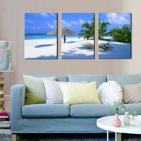 Barato Arte Suspensão Seascape-Árvore de coco na pintura Sea Beach Seascape Canvas Wall Art Decor 3 Panel on Canvas pronto para pendurar para Home Office Decoração