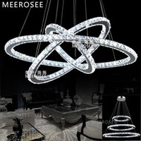 Wholesale Drop Shipping Kitchen - Hot sale LED Crystal Ring Pendant Drop Light LED Ring Suspension Pendant Lamp Fast Shipping