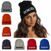 Wholesale streetwear beanies - 8 Colors Homies Beanies Fashion Winter Warm Knitted Beanies Snapback Hats Caps Hip Hop Streetwear Hat Cap CCA6963 100pcs