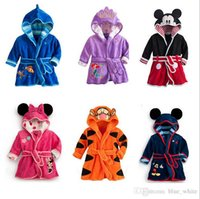 Wholesale Child Bath Robe Terry Wholesale - 5pcs lot Cartoon Minnie Mickey Mouse Children bathrobe Coral fleece Kid robes Baby clothing toweling robe Boy Girl bath wear