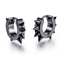 Wholesale Men Spike Earrings - Men Women Spikes Studded 316L Stainless Steel Punk Spiky Round Huggie Hoop Earrings 1Pair