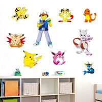 Wholesale Red Kids Wall Room - Poke Go Wall Stickers for Kids Rooms Home Decorations Pikachu Wall Decal Amination Poster Wall Art Wallpaper